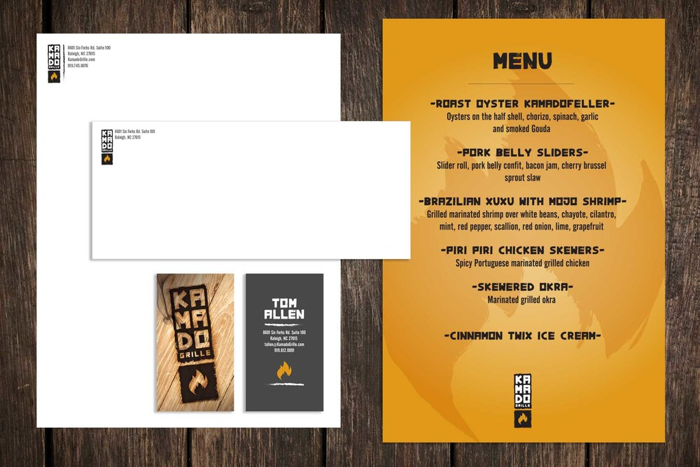 Kamado Grill - Letterhead, Business Card, Envelope and Menu
