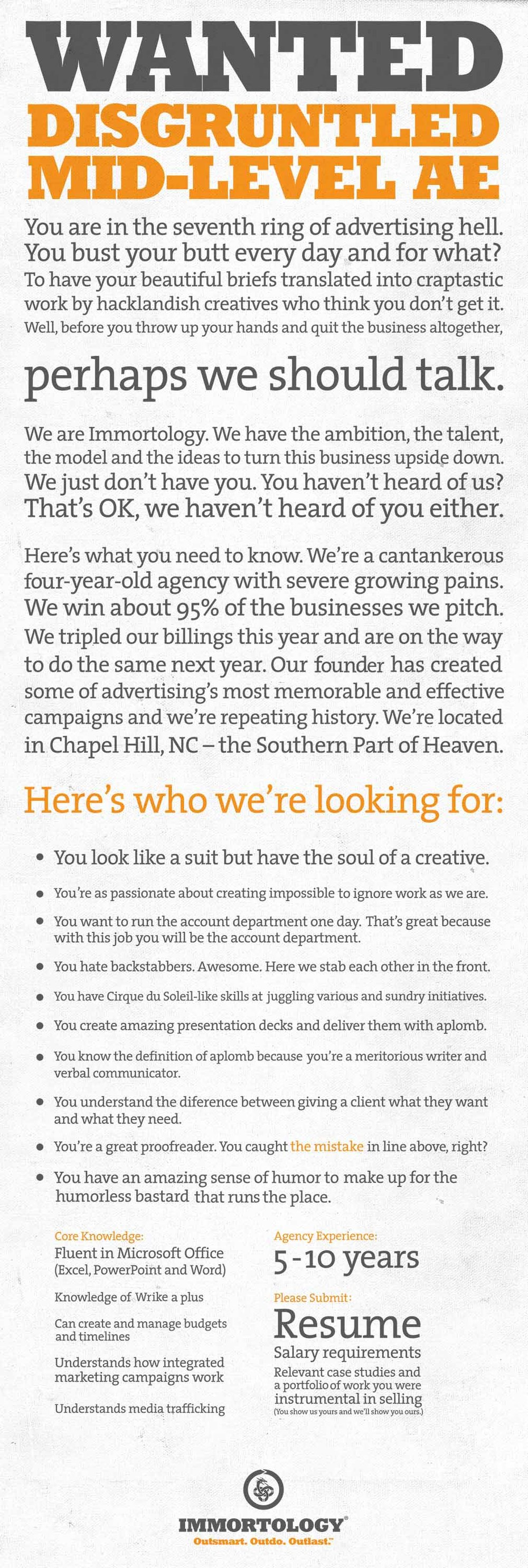 Immortology recruitment ad. Click to enlarge.