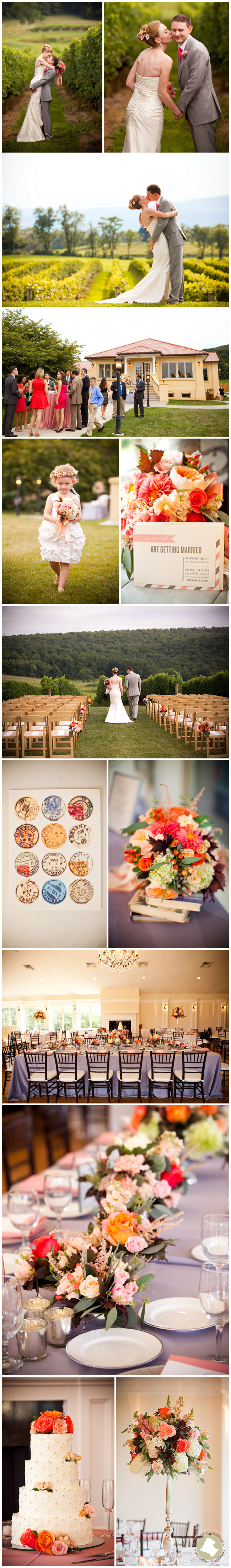 This coral, peach, pink and orange affair  contrasted beautifully with the green rolling hills of Breaux Vineyards.  Chic and sweet, this event boasted elevated floral arrangements, burgeoning bud vases and simple yet lovely pew markers for the ceremony.  Tableware and linens were expertly chosen to tie the florals in with the tables, chairs and space itself, creating an elegant and elevated ensemble.   Photos by Genevieve Leiper.