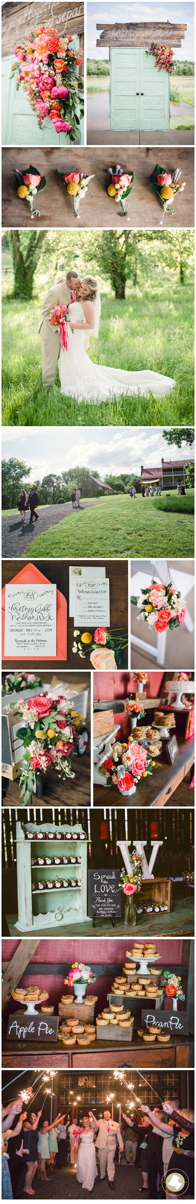 Vibrant, fresh and intimate, this Riverside On The Potomac affair was bursting with color.  Vintage touches like glass cake plates, simple bud vases and calligraphed wooden signs gave the whole event a heartwarming sense of family.  With lovely details from the rustic ceremony decor featuring distressed wooden doors bedecked with floral accents to cozy reception environs created through the use of provincial furniture details, gorgeously styled.  The picture of homespun elegance. Images Photography Du Jour.