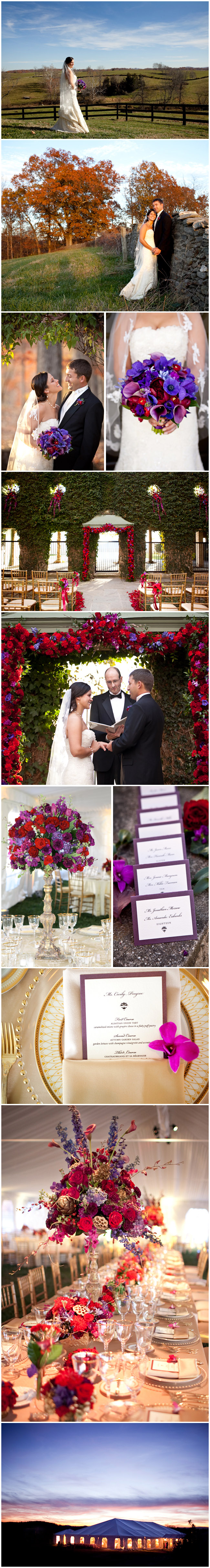 Vibrant and vivacious, this autumnal wedding was bursting with the season's most jewel-like tones.  Purples and reds decked every beam and graced the dining tables as elevated designs.  A custom-designed archway of exquisite blooms created an alluring and picturesque frame for the moment the bride and groom said a heartfelt, 'I do.'  Every glimmering detail of this event is a tribute to the colorful beauty of the Goodstone Inn estate, no matter the season. Photos by Genevieve Leiper.