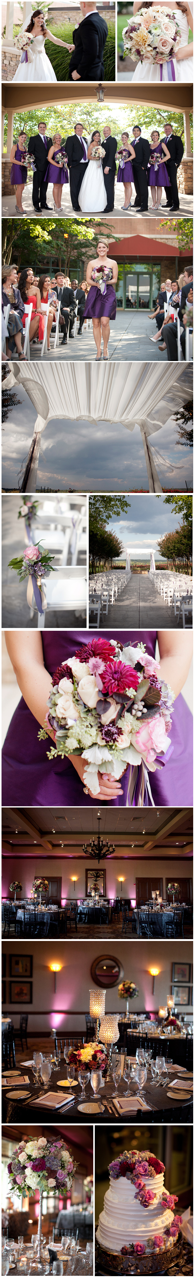 Rich jewel tones brought this Lansdowne Resort event to life.  Beautiful plums and purples against the deep wooden tones of The Clubhouse interior added an air of sumptuousness to the space.  A well-balanced contrast with the airy and bright ceremony held outdoors on the premises, the reception created an atmosphere rich with romance and warmth, uniting guests in their common celebration of the newlyweds. Images by Kristen Gardener.