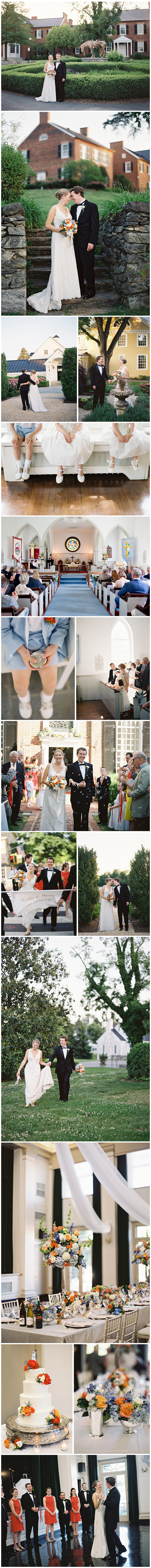 With lovely terraces and sweet little nooks    for gorgeous wedding day photo opportunities, Middleburg Community Center's historic property offers a lovely opportunity for beautiful and bright events like this one.  Bold oranges and endearing blues created a cheerful palette.  Elevated designs remained loose and airy atop elongated silver stands and flourishing compotes spread brightly across festive tabletops. Images by Anne Robert.