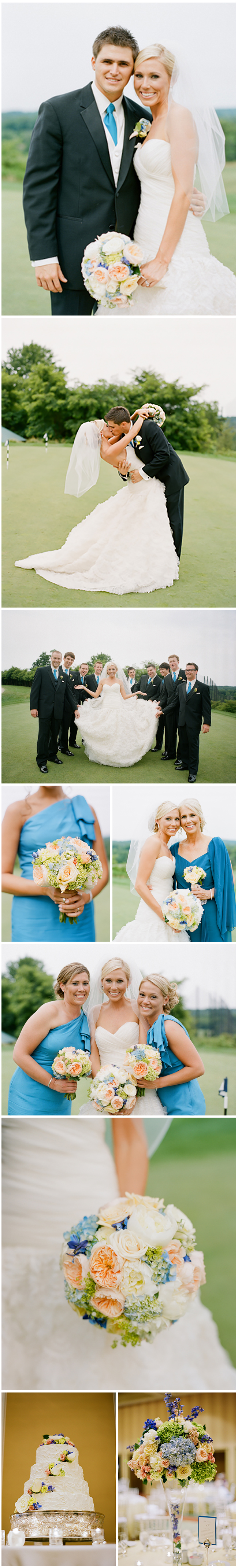 Prettily perched on Lansdowne's rolling green golf course, this simple yet stylish wedding was a mixture of blues, yellows, peaches and creams.  With clean, handcut bouquets in a classic style and soft, elevated designs for the reception, florals added just the perfect pop of color to coordinate with the classic whites of the linens and chairs.  Elegant details and clean lines created a seamless aesthetic for a perfect country club-style  affair.  Images by Kate Headley.