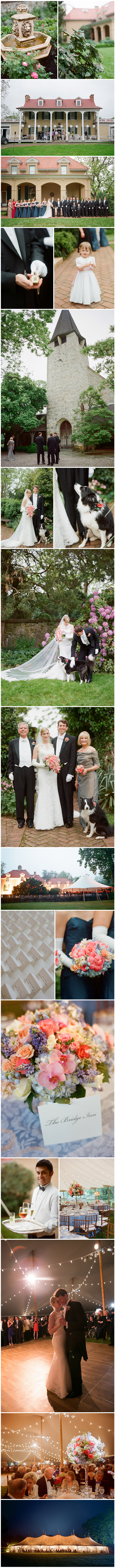 Marked by formal elegance,  this beautifully bespoke wedding was the picture of perfection from long-tailed tuxes to polished, gloved attendants.  Floral accents added a colorful edge to the pristine event, with corals, pinks, peaches, creams and blues gracing the tabletops and adding opulent detailing to the ladies' gowns.  Even the couple's pup wore a splash of pink florals on her collar.  As the enchanted afternoon faded into evening, the exquisitely tented lawn made for a sumptuous scene with guests dancing far into the night. Images by Kate Headley.