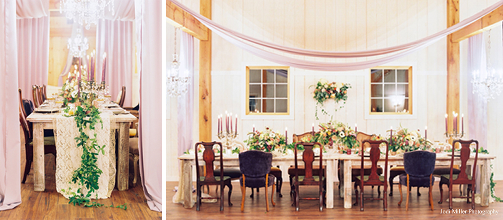 The post and beam style equestrian barn offerns a backdrop for countless renditions of wedding day glamour. Floral designed by Holly Heider Chapple