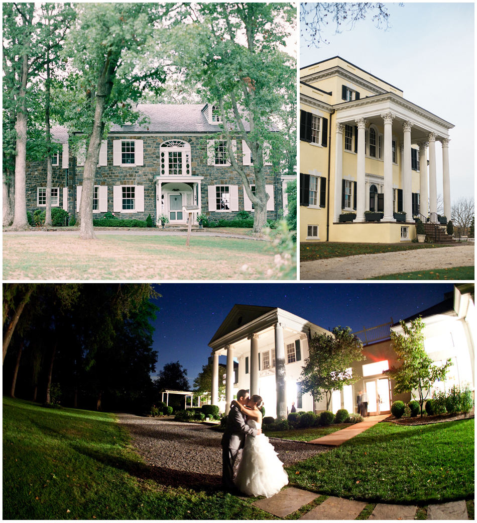 Top Left    Murray Hill's lovely stone façade;    Top Right    Gorgeous Oatlands Plantation, with it's beautifully columned porch;    Bottom    A romantic evening at Whitehall Estate.