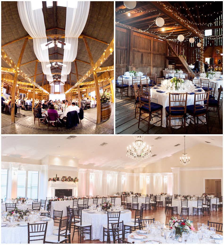 Top left    Belmont Vineyard draped and lit for a festive reception;    Top right    The rustic aesthetic of the barn at WeatherLea Farm & Vineyard;    Bottom    Airy reception held at Breaux Vineyards; photography by   Paper Antler Photography  .