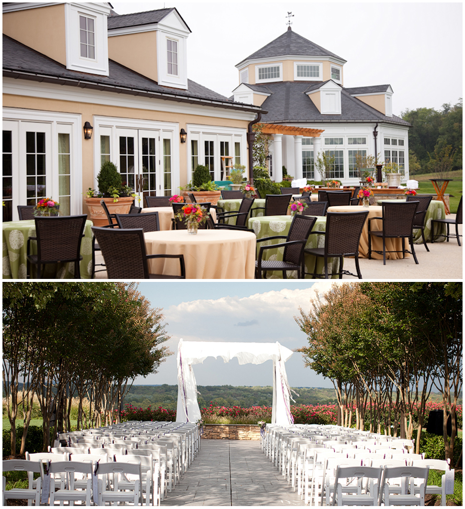 Top    Salamander Resort & Spa on an early Spring Day;  Bottom  Lansdowne Resort's patio ceremony location- airy and bright.