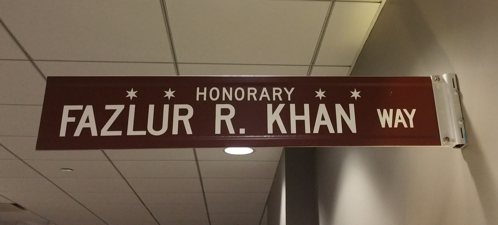 Fazlur R Khan Way - Honorary Chicago. Structural Engineer who designed Sears (Willis) Tower