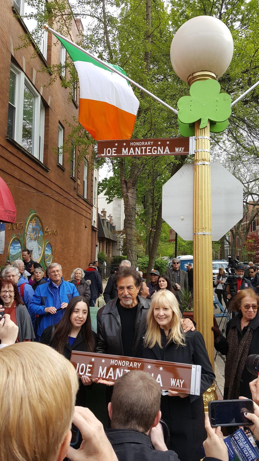 Joe Mantegna Way sign dedication ceremony, May 3, 2017. Photo: Linda Zabors/Honorary Chicago