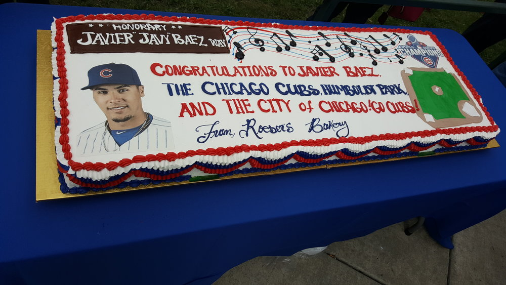 """Congratulations Javier Baez"" cake from a local bakery"