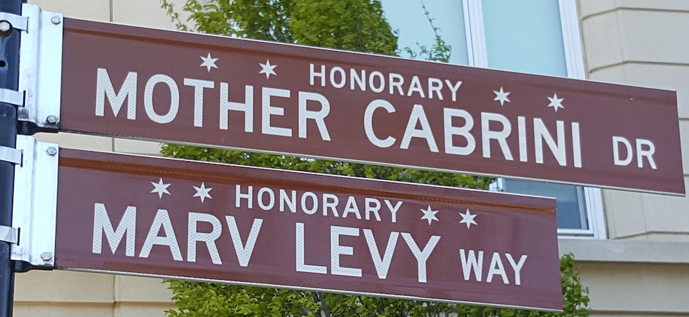 Honorary Mother Cabrini Dr and Honorary Marv Levy Way