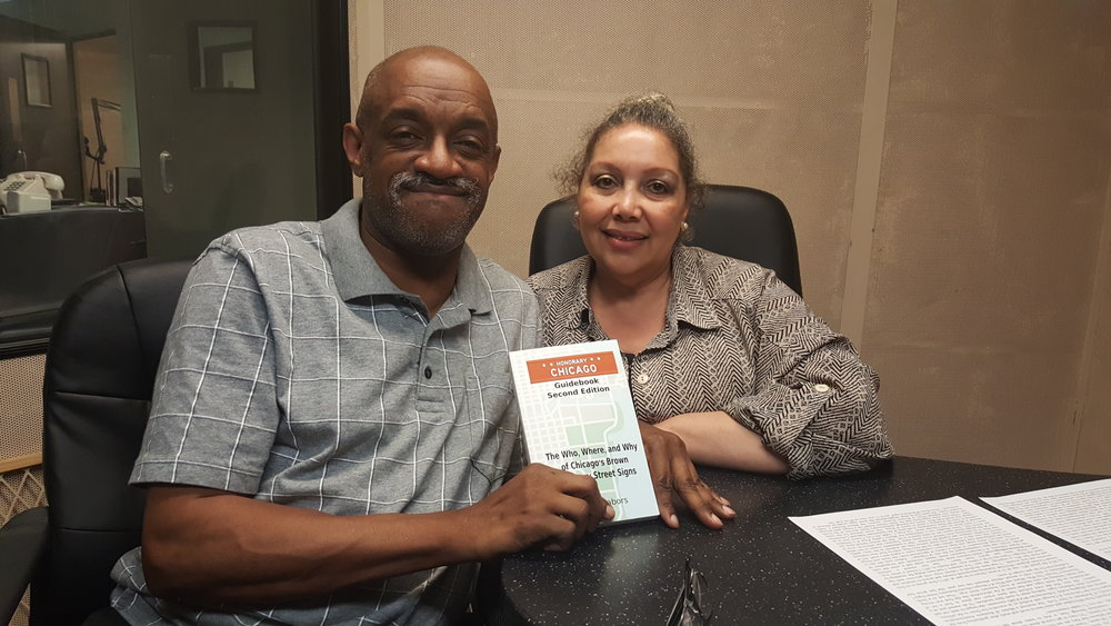Marshall Mathews and Ruth Fairfax Frazier, of CRIS Radio with the Honorary Chicago Guidebook
