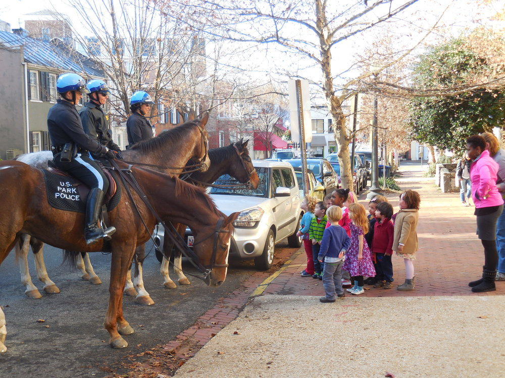 CHOW class with Park Police on horses.JPG