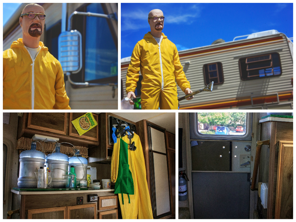 "This particular Bounder is part of the Breaking Bad RV Tour where visitors can ride in full ""meth"" style around to a number of key filming locations.  Guests are even greeted with their own little baggie of Walt's signature ""Blue Sky"" meth - don't worry, it's only rock candy (compliments of The Candy Lady)."