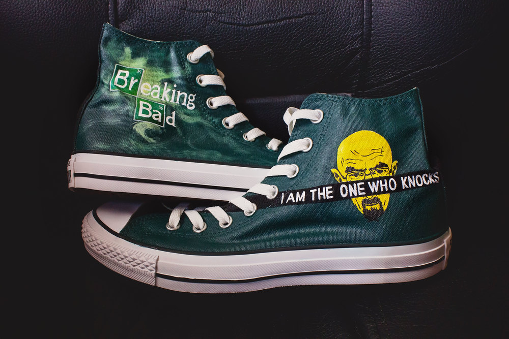 Quick thanks to the artist who painted these custom Converse for my husband!  Get yours, or Walking Dead, or even Justin Bieber if that's your thing.  Check out Cora Hand Painted here!
