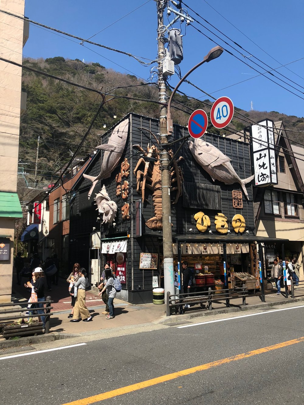 The first of many restaurants with gigantic crustaceans crawling up the walls, a running theme in Japanese cities. This is in the Yumoto area of Hakone, where the main train station is located.