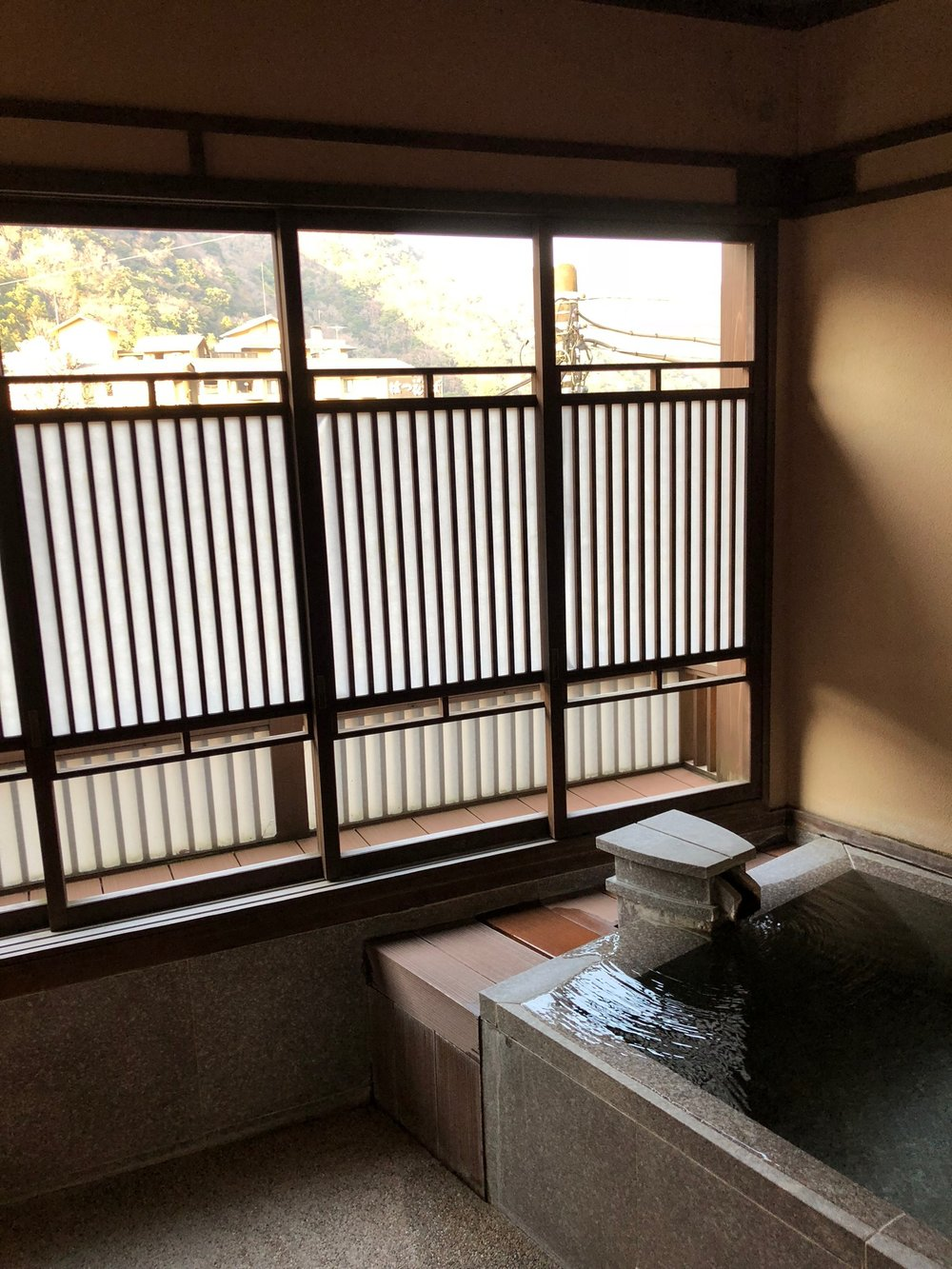 Fed from local hot (very hot!) springs, our room had a private onsen bath.