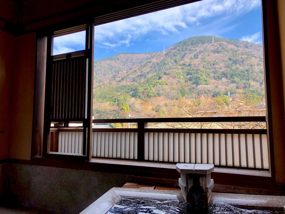 Disclaimer: this is not photoshopped. This is the real view from our onsen.