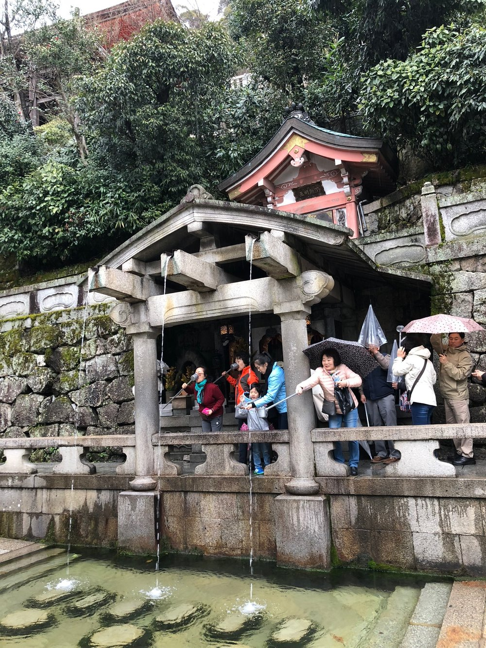 We queued up with everyone else at the Otowa Waterfall, where each stream represents a different form of luck--longevity, success at school and a fortunate love life. With a long line of luck-seekers behind us, we have no idea from which stream we sipped.
