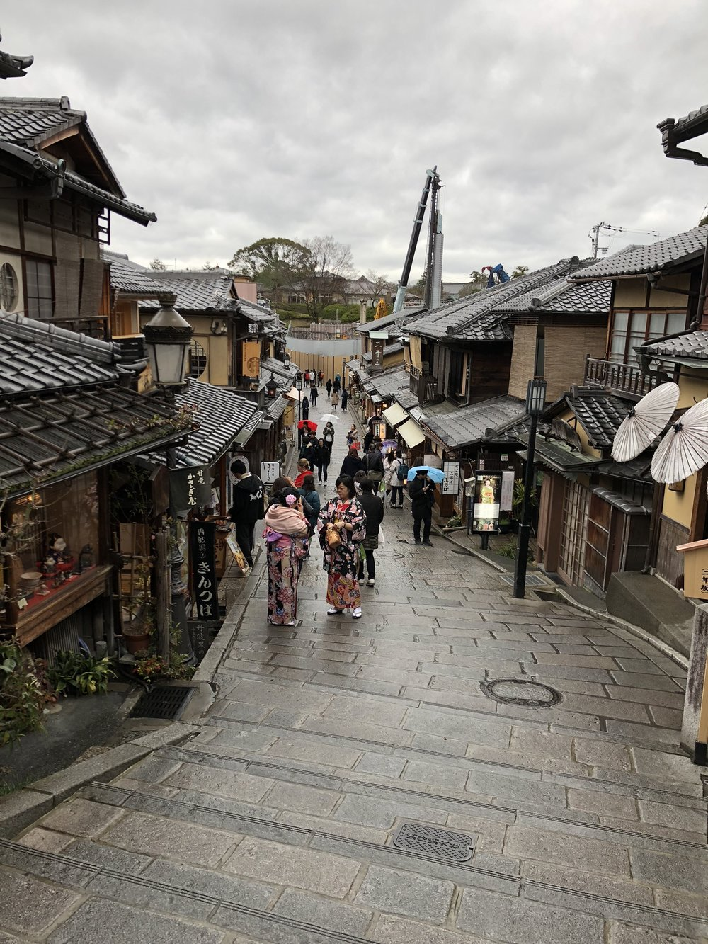 The Higashiyama district is packed with little streets like this one, Sannen-zaka, lined with traditional shops and restaurants. Surprisingly, full-sized cars still push their way through these mini streets.