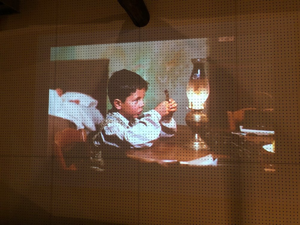 Perfect for Steve, the loft bar was projecting the Italian classic Cinema Paradiso on the wall.