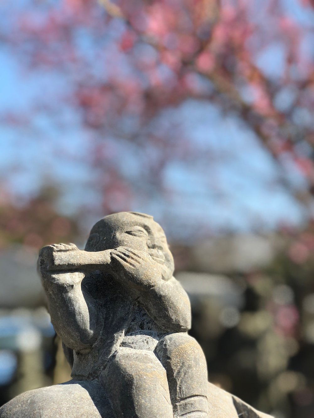 Our next stop was a cluster of sightseeing spots on the western side of Kyoto. This little stone flautist was in a massive arrangement of similar figures on the grounds of Tenryu-ji temple.
