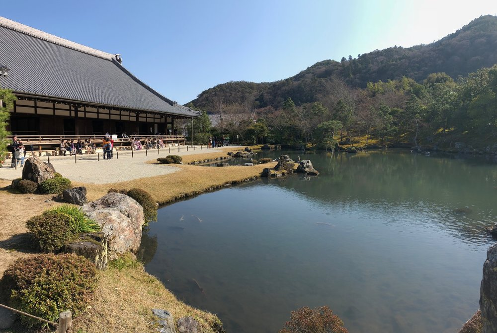 The beautiful and tremendously serene backyard pond of Tenryu-ji temple. We loved the idea of a ancient monk sitting on the wooden deck of the temple and looking out over the pond over hours of meditation.