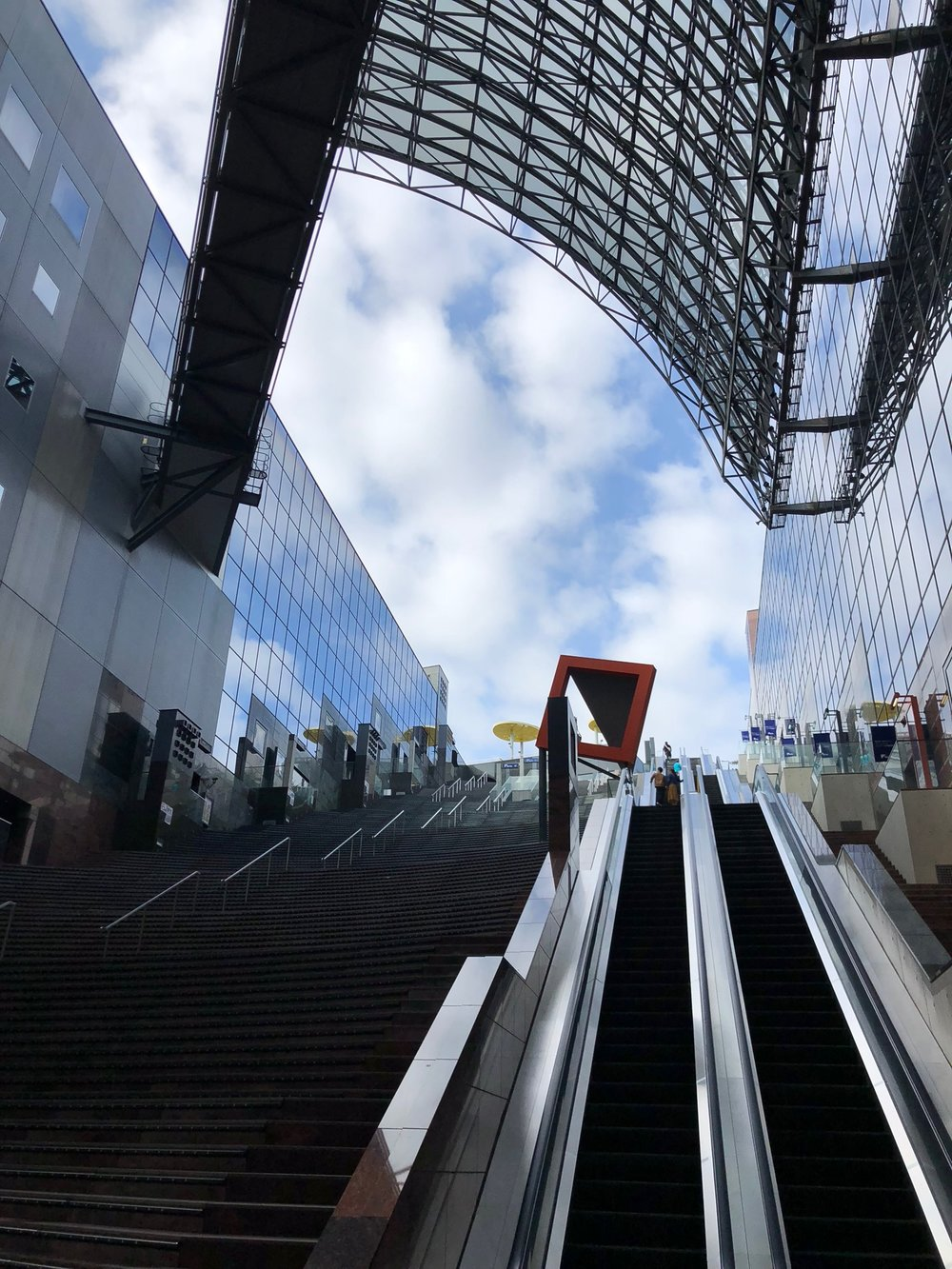 When we arrived in Kyoto Station initially, we immediately hopped on a metro headed towards our Airbnb. We missed the fact that above ground was a MASSIVE and beautifully designed train station.