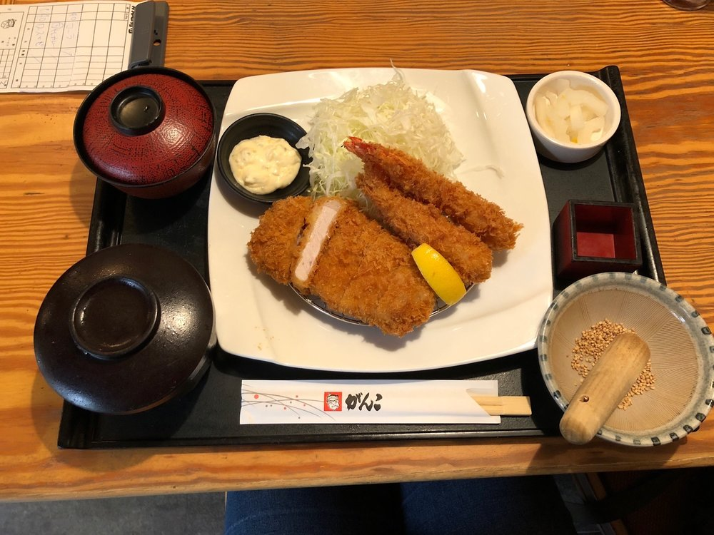 Before hopping on the train back to Kyoto, we stopped at Tonkatsu Ganko for some famed pork cutlets. Steve ordered the curry and Alix braved the full meal, with miso and rice. Each dish is served with a coleslaw that you can dress yourself. MMMM!
