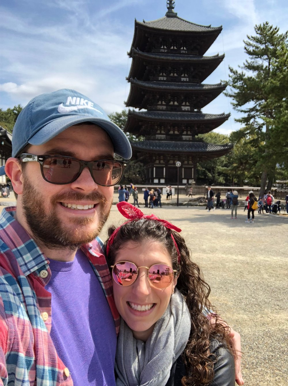Kofuku-ji was our first stop in Nara. Only a few buildings remain, including this 5-story pagoda (the second tallest in Japan), on grounds that were once home to more than 150 temple buildings.