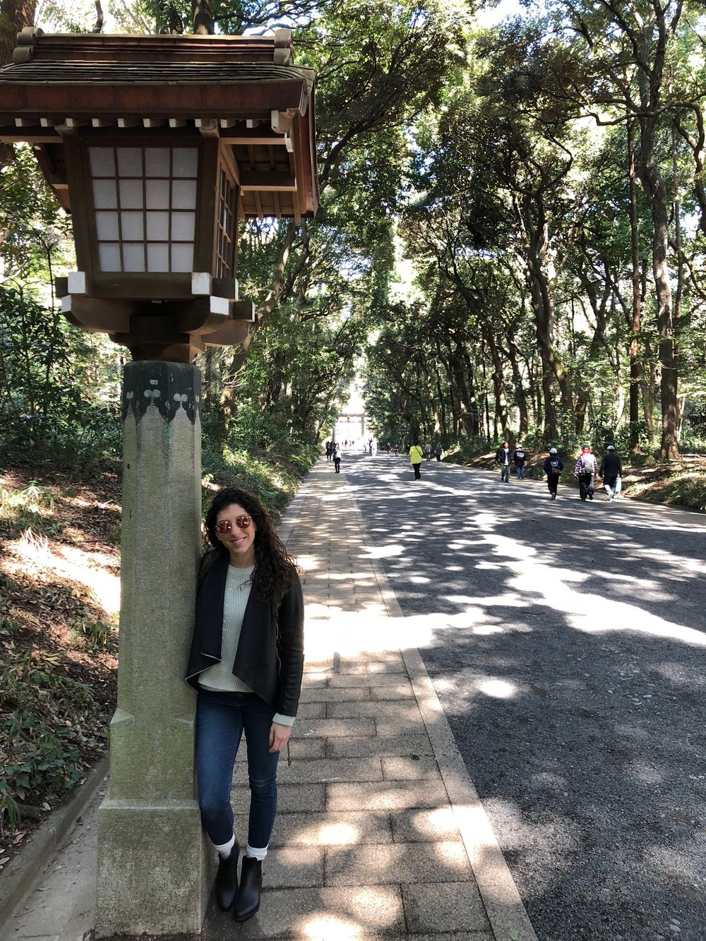 Here's Al next to one of the latterns lining the paths leading to the Meji Shrine