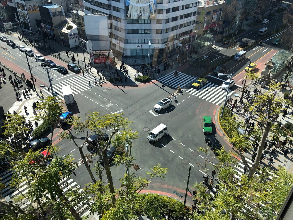After lunch we took a short rest and Al got some Starbucks. We found out about this spot online - it was in a super new (and cool) mall and had a great view of a major cross street in the heart of Harajuku