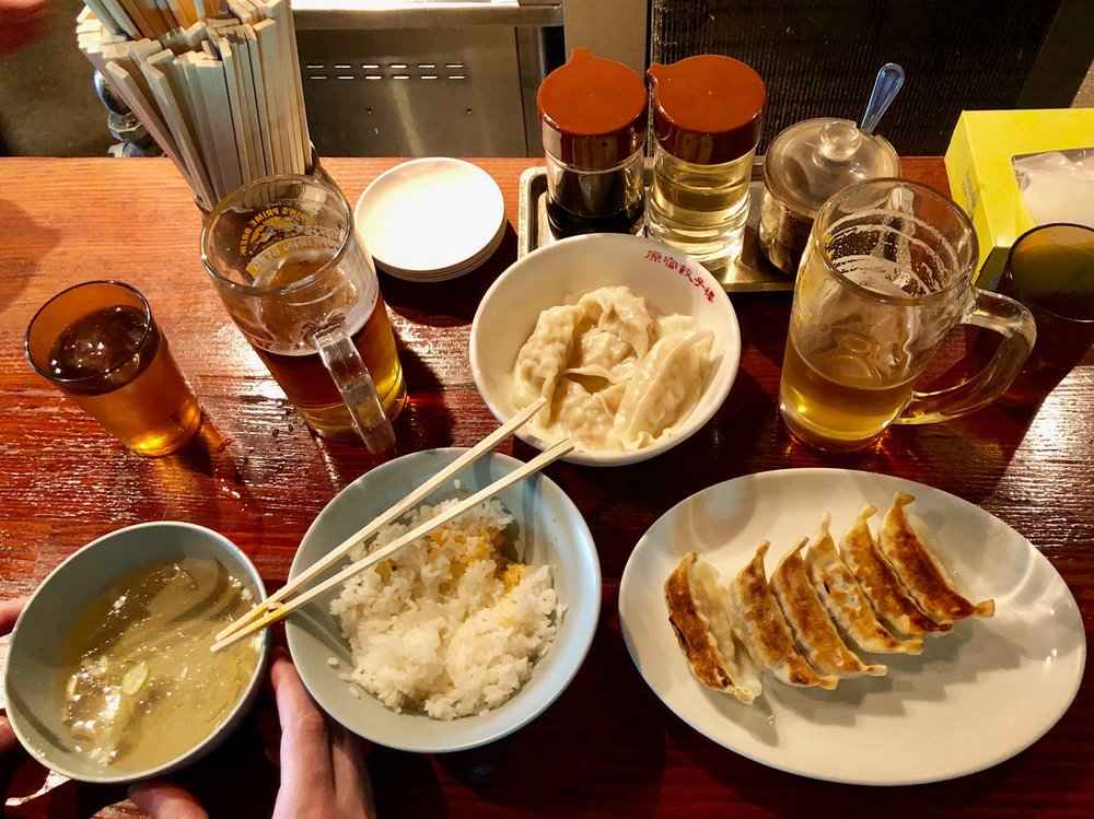 Our first lunch in Japan - gyoza from a well reviewed spot in Harajuku