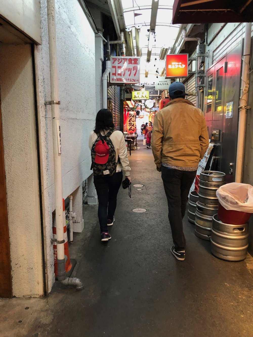 Noriko and Steve wandering through the open air market in Kichijōji. Noriko showed us what to look for on sake labels to have a better idea of the quality and where it came from