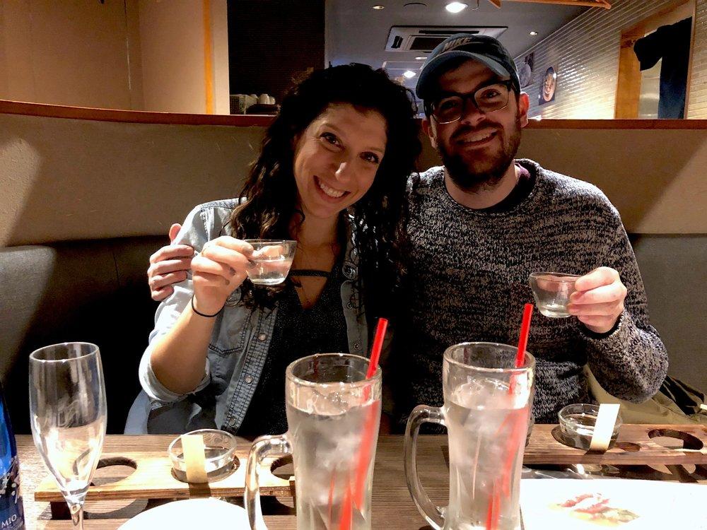 Enjoying our sake!
