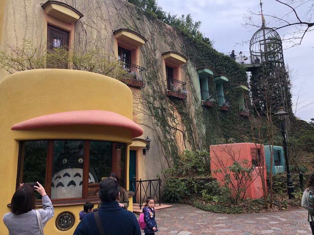"Outside the Ghibli Museum, ""Totoro"" (arguably the most famous character from their films) greets you as you head in."