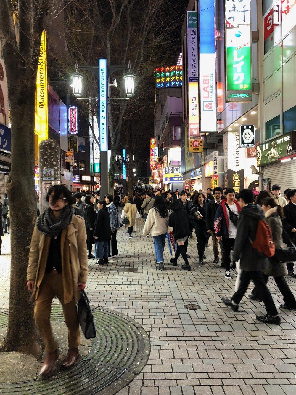 Wandering around Shinjuku at night.