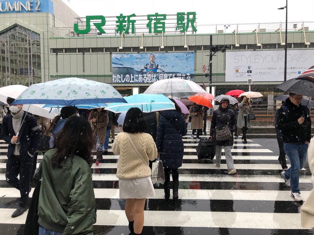 Headed into Shinjuku Station for the last time on our way back to the airport. At this point it had gotten so cold that the rain started freezing and it was snowing! So in the span of 11 days we had experienced spring, summer (almost 74 in Kyoto when we first arrived) and finally winter - the perfect unique chapter in our amazing journey.