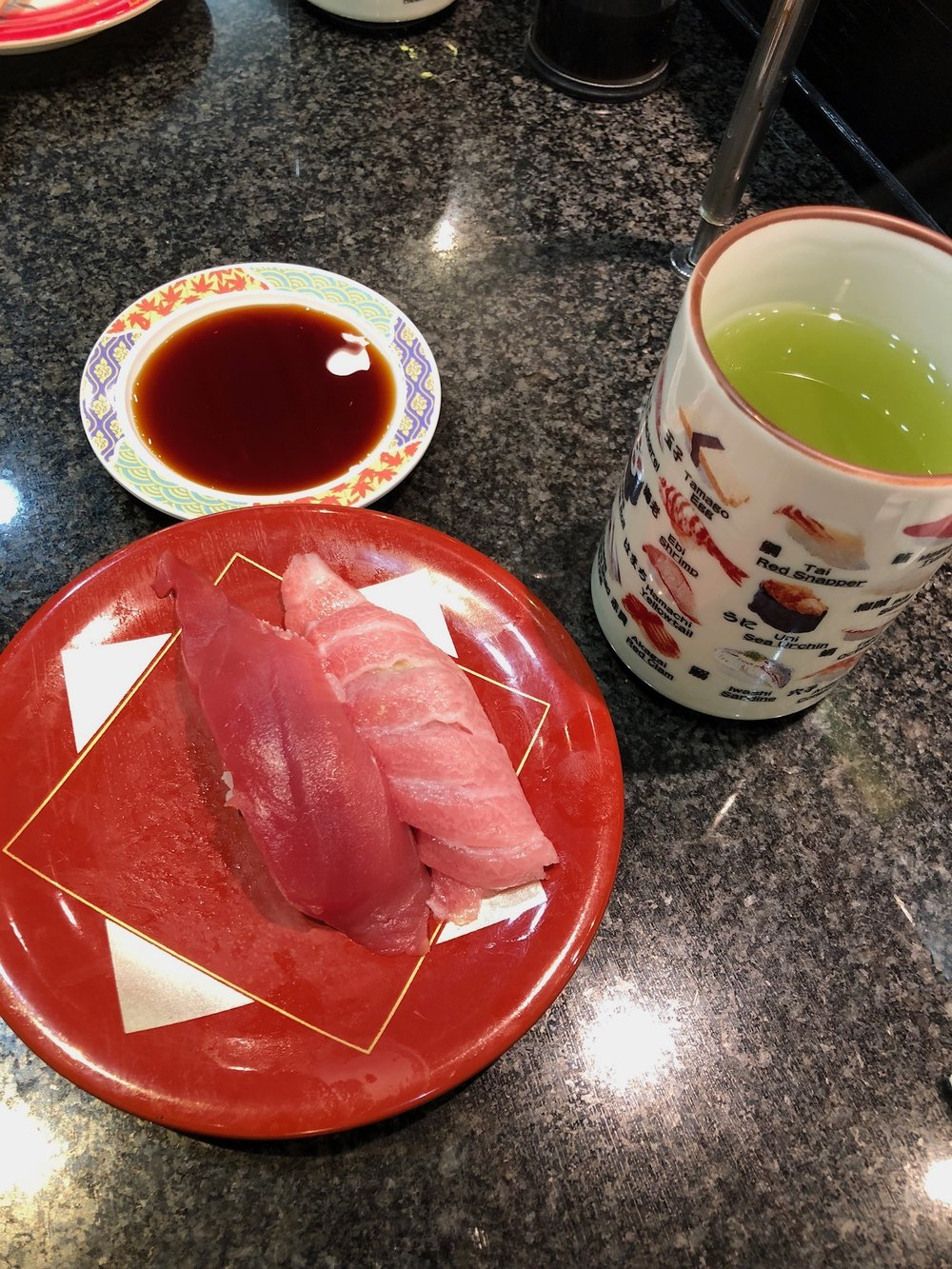 Sushi and green tea.