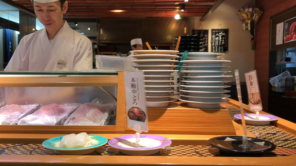 The sushi was pretty good here. We didn't order from the chef directly, we just pulled little trays off the conveyor belt.