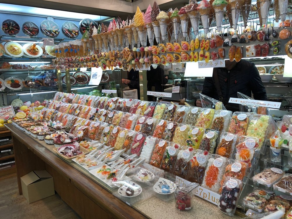 Many restaurants throughout Japan feature plastic versions of menu items in the front window of their shop to entice customers (or to make it easier for tourists to just point at things to order?). This shop on Kappabashi Street was devoted to the art/craft of making these plastic food facsimiles. They were very impressive but also pretty expensive! (Otherwise we would have gotten some to take home as they were so cool)