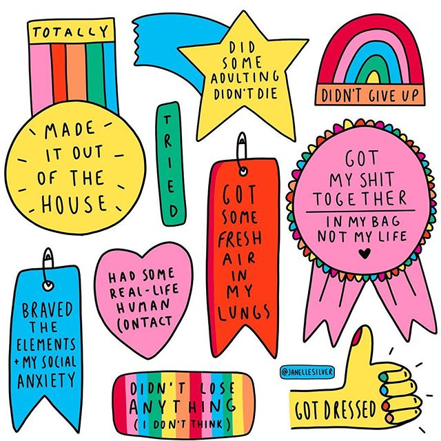 Awards for those of us who left the house today, even if it was to just to go and get the mail!! For some people (I'm one of them) getting out and about can often be a real struggle and pretty big deal! Sometimes it's mental illness, sometimes chronic pain, invisible illnesses and sometimes it's a mix of things but either way it can be a challenge (of varying degrees) and something to be celebrated when we succeed! 🎉💪🏼 I've got some tote bags coming in the mail with these awards on them so I can take these with me as a reminder wherever I go! If I (and you) like them, I'll add them in the store 💖 What are you proud of yourself for today? Sending so much love and care your way 😘💖🌈🍄🔮🌸🦄💜