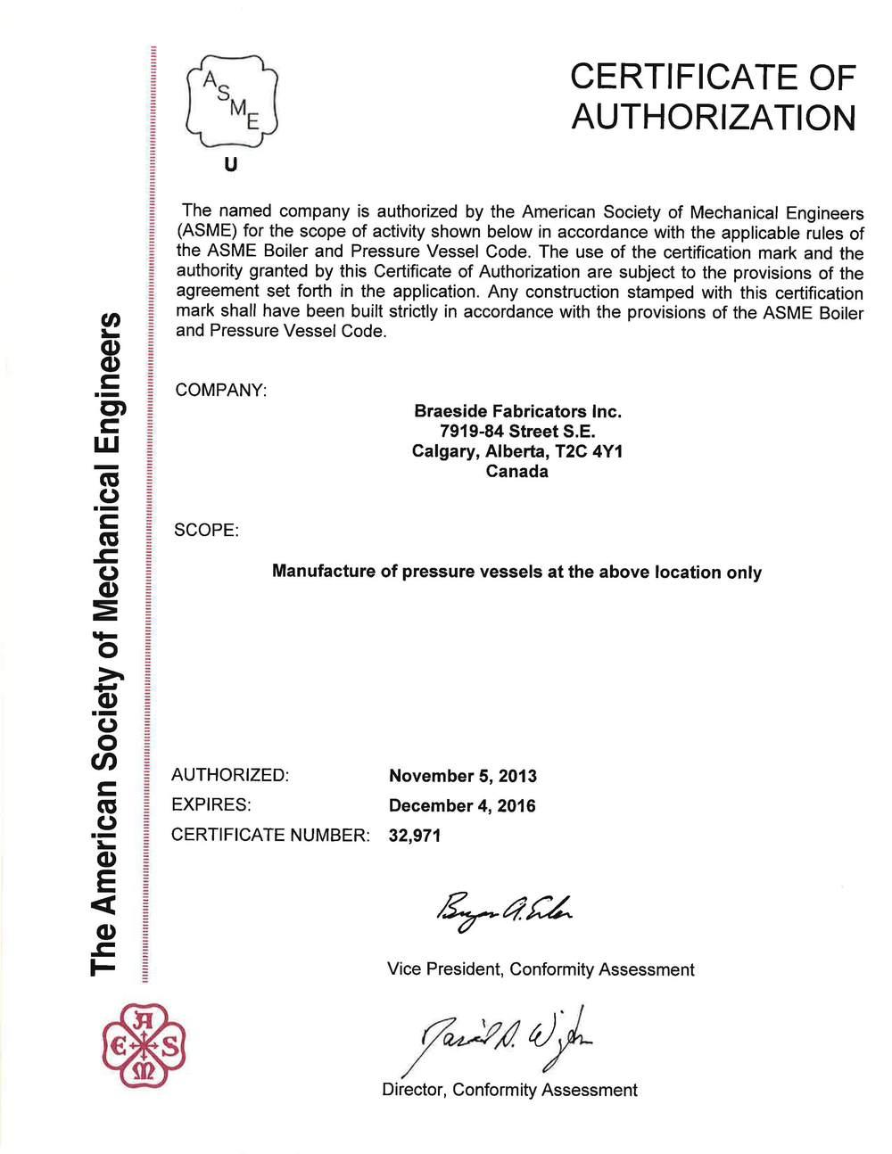 ASME U Stamp Certificate 2014.jpg