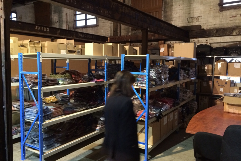 The Scarf Company moving stock into their unit!
