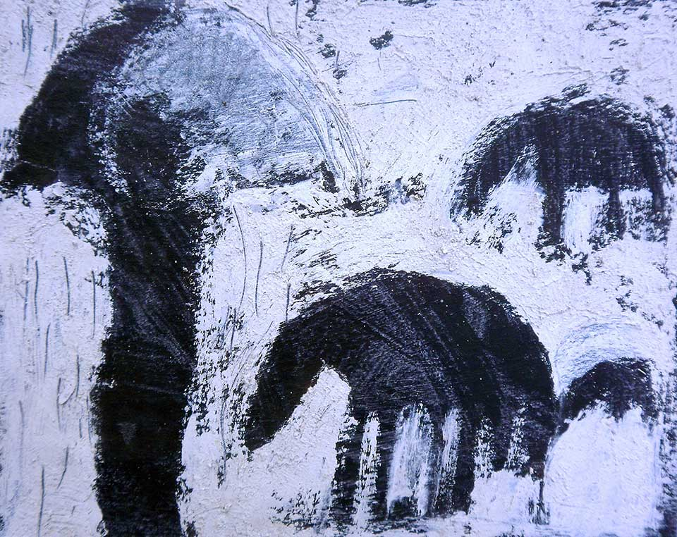 Study for Herder in the Rain .  O  il, tar and lime on canvas.  50x50-cms. (2012)