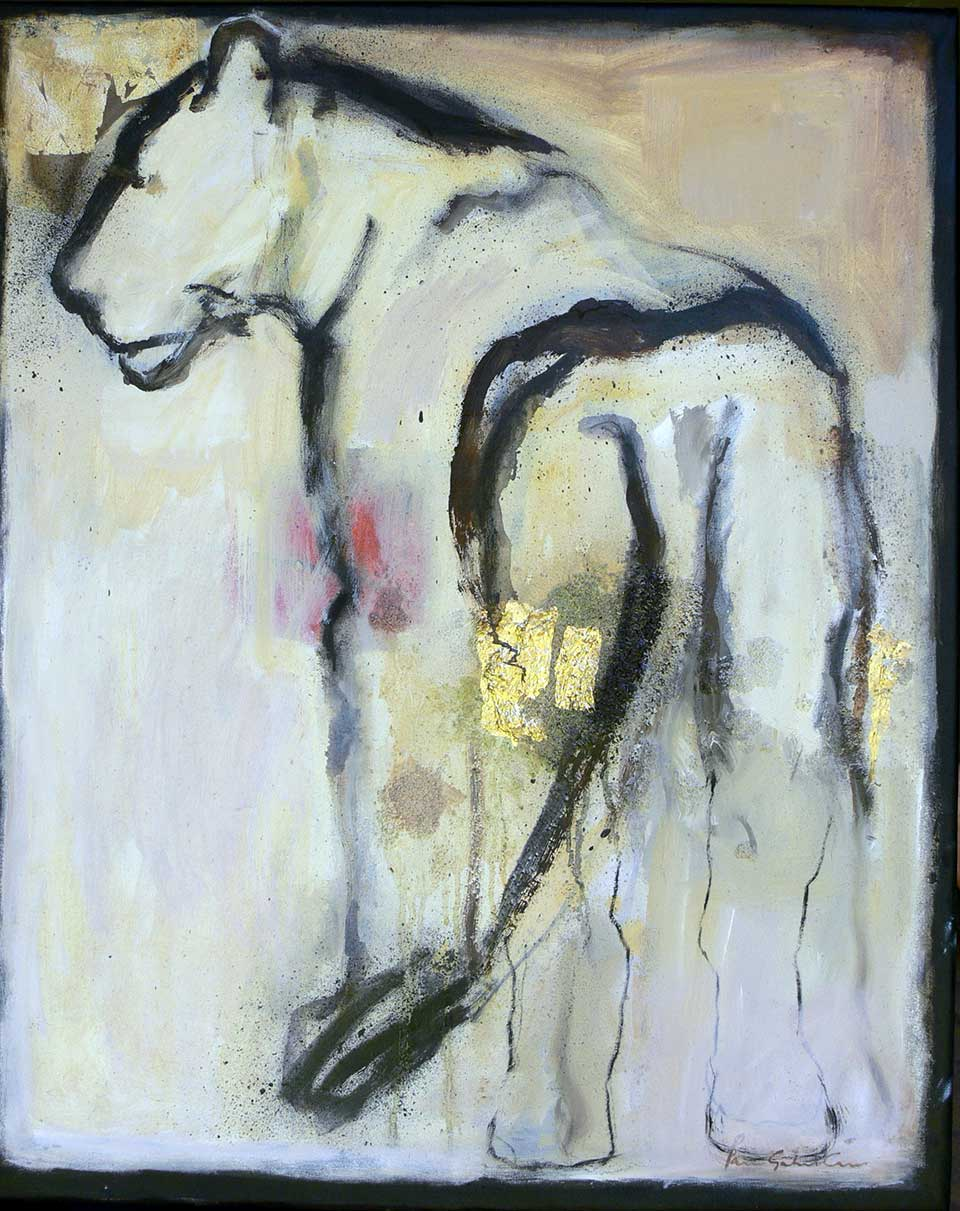Spirit Lion. Oil and gold leaf on canvas. 60 x 80 cm. (2010)