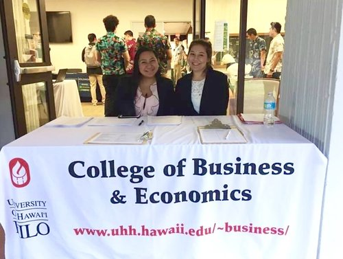 Brother Kahawaii and Brother Oshiro manning the sign-in table at the Spring 2017 Job &  Internship Fair.