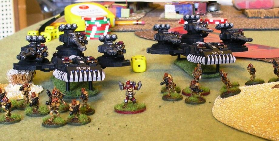 Crocodiles advance behind a screen of Felid infantry